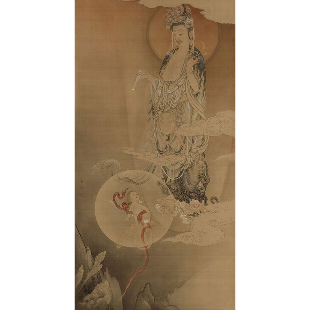 Wiener Museum Hibo Kannon 1883 Kano Hogai 1828 1888 Japanese Silk Ink Color and Gold